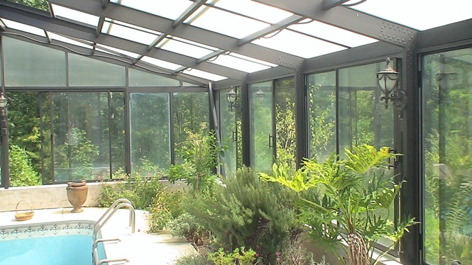 solarium green house glass historical home castle organic herbs swimming pool North Carolina Urns